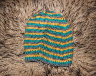 Skid Hat - teal, grey, and yellow