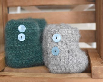 Crocheted & Felted Baby Booties