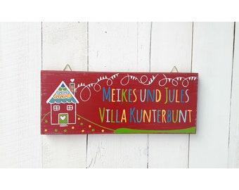 Fantastisch Holzschild Spielhaus Stelzenhaus Baumhaus Kinder Mädchen Junge Handbemalt  Schild Name Villa Kunterbunt Türschild Schild Garten Kind