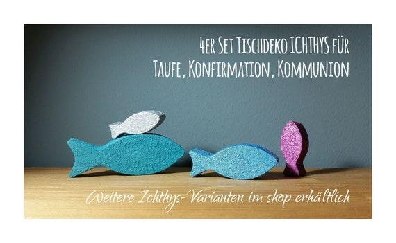 Fisch Ichthys 4er Set Beton Tischdeko Taufe Konfirmation Kommunion Geschl Rauh Farbig