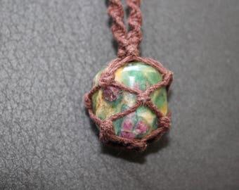 Ruby Zoisite Crystal Hemp Macrame Necklace