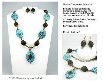 Original Mosaic Turquoise Pendant Necklace Set