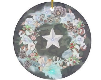Camouflage with stars and wreath ceramic porcelain Christmas ornament. Benefits IAVA. Free shipping. Giftable.