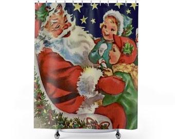 Shower Curtain: Christmas Holiday Decor Vintage Santa with Children Illustration Americana Nostalgic Mid-century