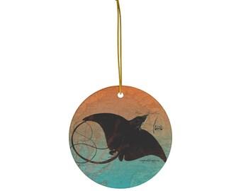 Eagle Ray Ceramic Christmas Ornament: Ocean life, Environmental awareness, supports WWF