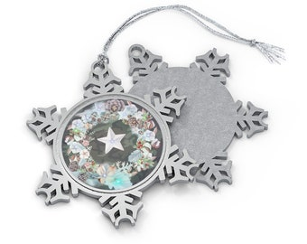 Pewter Snowflake Ornament: Camouflage with stars and wreath. Benefits IAVA. Christmas Ornament.