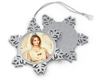 Angel Pewter Snowflake Christmas Ornament. Thayer/American Art. Supports MSF/Doctors Without Borders