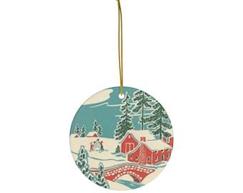 Retro Winter Scene Ceramic Christmas Ornament: Vintage Inspired, Nostalgic, Snow-scene