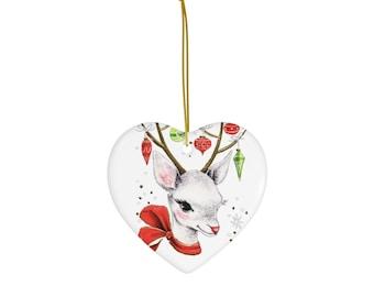 Oh, Deer! Vintage Retro Inspired Reindeer Design Ceramic Christmas Ornament
