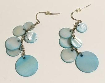 2e56681070c Blue Mother of Pearl Dangle Earrings