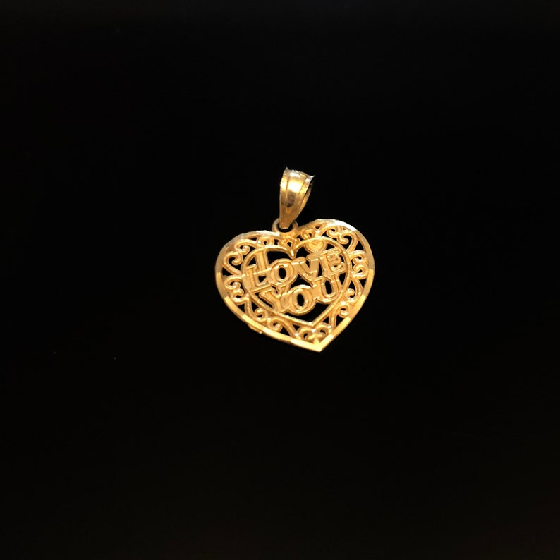 Heart Shaped 10K Gold I love You Pendant