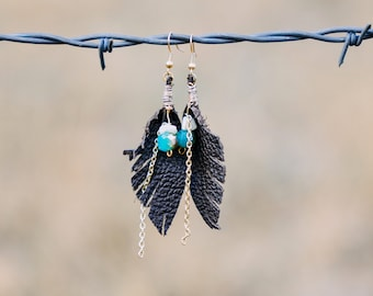 Beaded Feather Leather Dangle Earrings