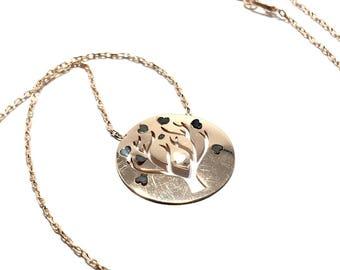 Wish Tree Hearts Silver Plaque Necklace