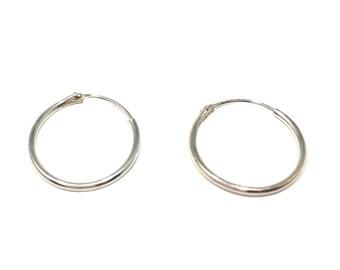 """Dainty 5/8"""" Hoop Earrings - 925 Sterling Silver"""