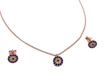 Tiny Evil Eye Necklace and Stud Earrings Set - Zircon - Sapphire - Silver - Rose Gold