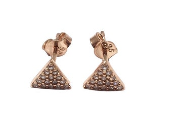 Triangle Stud Earrings - Zircon - Rose Gold  Silver