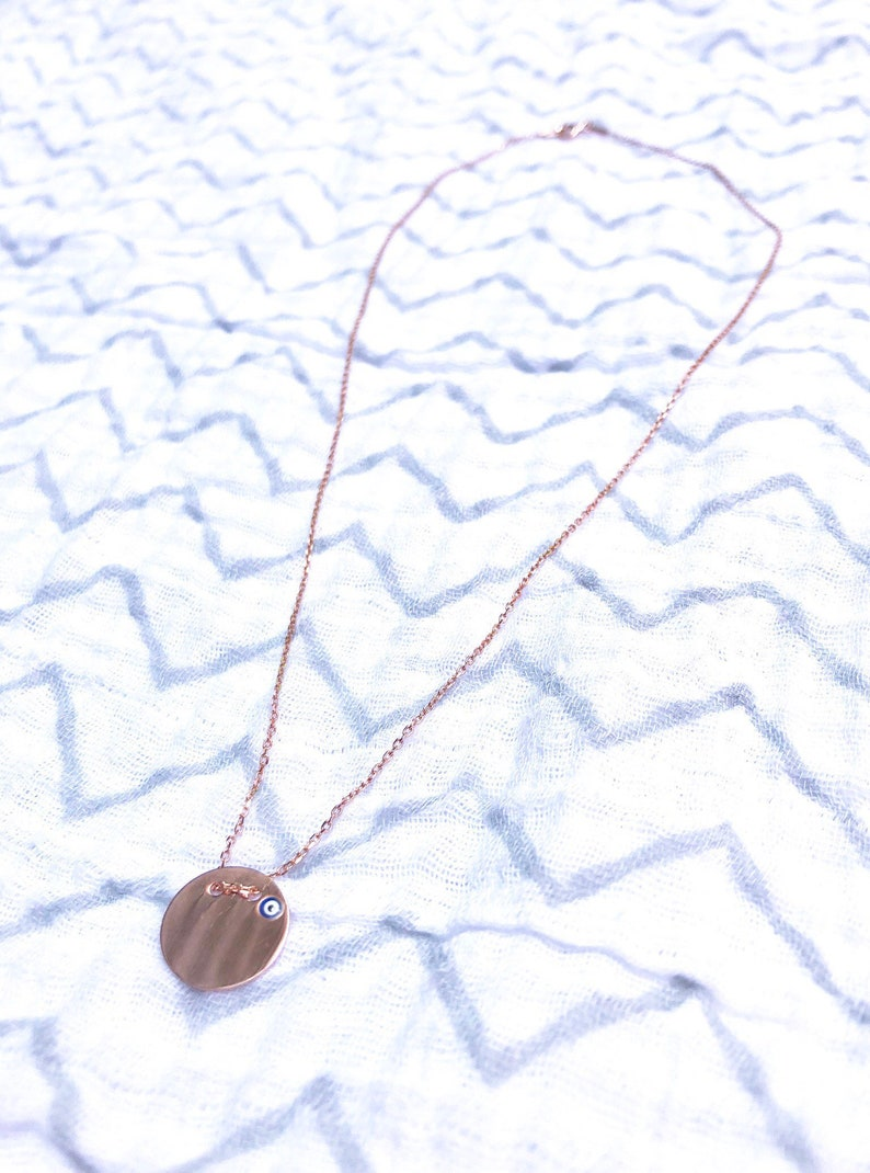 Evil Eye Mini Disc Necklace  Rose Gold Silver image 0