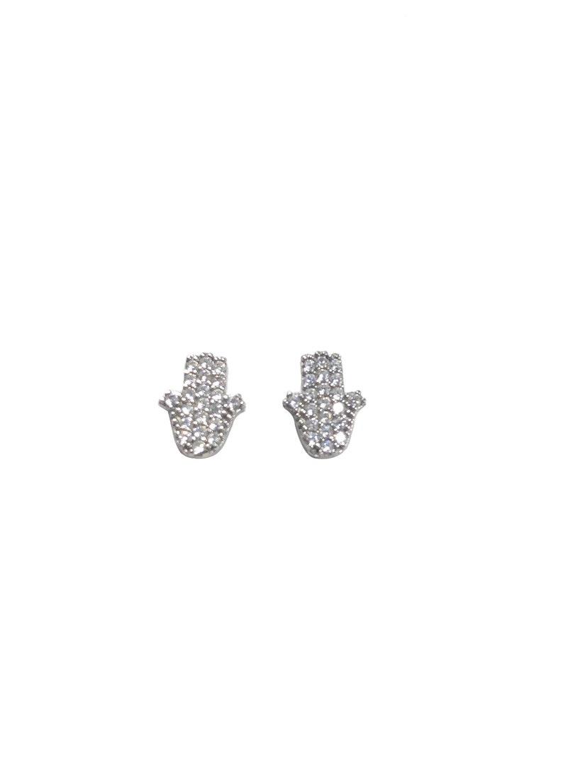 Hamsa Hand Stud Earrings  Sparkling Zircon  Silver image 0