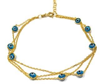 Evil Eye Triple Chain Bracelet - Gold Colored 925 Sterling Silver