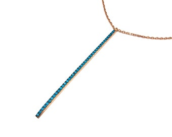Dainty Turquoise Vertical Bar Necklace - Rose Gold Silver