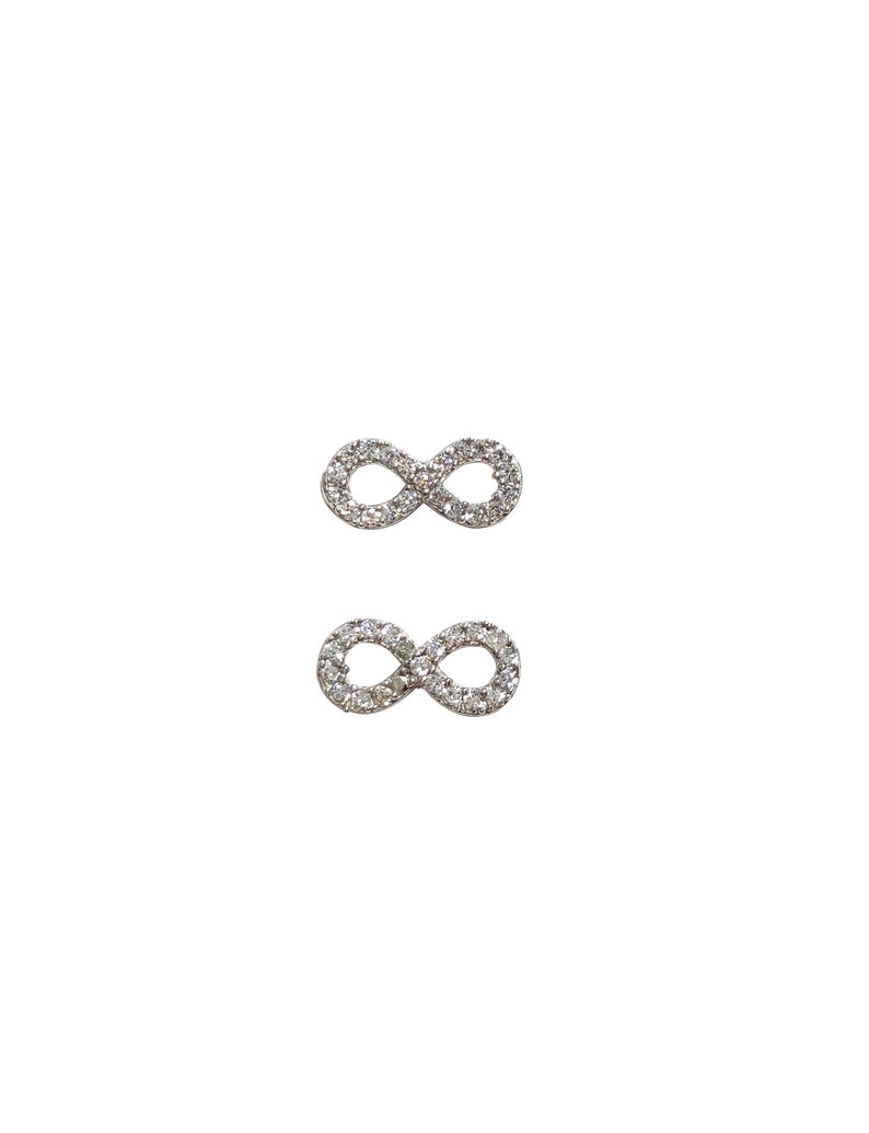 Sparkly Infinity Stud Earrings  Zircon  Sterling Silver image 0