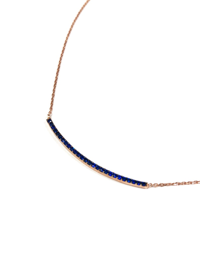 Sapphire Curved Bar Dainty Necklace  Rose Gold Silver  image 0