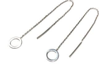 Circle Threader Earrings - Rose Gold - Silver