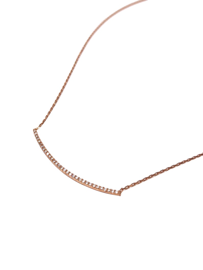 Zircon Curved Bar Dainty Necklace  Rose Gold Silver  image 0