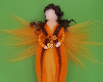 Needle felted wool fairy, Waldorf fairy, angel, fairy ornament, cute gift, angel ornament, nursery decor, wool fairy, wool, angel, craft