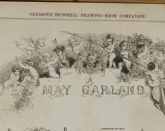A May Garland, 1853. Approach of May. Invocation to May. Cherubs, Butterflies and Birds. Large Antique Engraving.