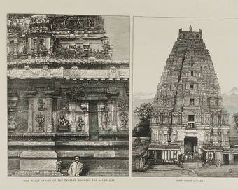 Ruins at Humpi, Madras Presidency, Some of the most Ancient Temples in India. Vitla Roya Temple. Bishtapiah Gopara Large Antique Engraving