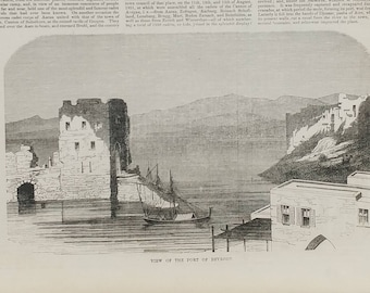 Port of Beyrout, 1853. Hotel in Damascus. Large Antique Engraving.