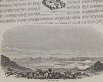 View of Salt Lake 1857. Governor Brigham Young of Utah Territory. Elder Heber C. Kimball. Beautiful Large Antique Engraving.