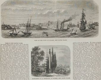 View of the Town of Sydney, New South Wales 1853. Monument of La Peyrouse. Blue Mountains of New South Wales. Large Antique Engraving.