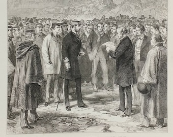 Presenting an Address to the King(Christian IX) of Denmark at Thingvalla, Iceland.  Large Antique Engraving