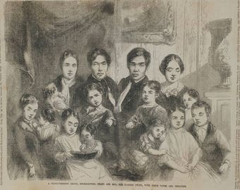 Chang and Eng, the Siamese Twins, With Their Wifes and Children from 1853. Large Antique Engraving.