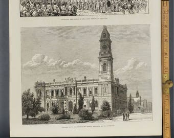 Telegraph Office Adelaide, South Australia and Statue of Sir James Outram Large Antique Engraving