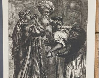 A Water Seller at Cairo 1874. Large Antique Engraving. About 11x16