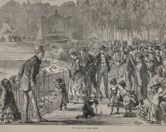 The Zoological Gardens, Berlin 1874. Going to the Zoo. Large Antique Engraving.