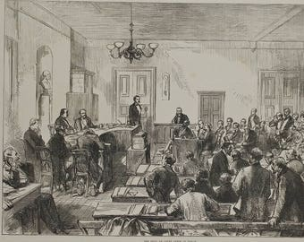 The Trial of Count Arnim at Berlin 1874. Antique Court Scene. Large Antique Engraving.