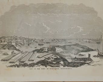 View of the Town of Marblehead, Massachusetts 1854. Large Antique Engraving, About 11x15