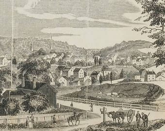Brookline,Massachusetts,from Above the road,Five Miles from Boston 1854.Rocky Glen, Sing Sing New York. Large Antique Engraving, About 11x15