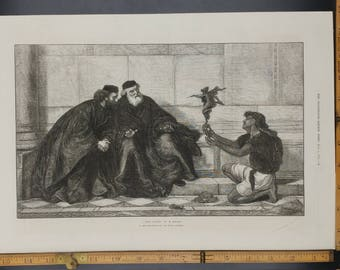From Naxos by H. Wallis Large Antique Engraving 1874