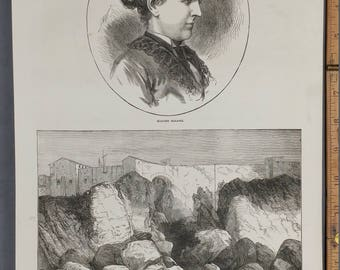 Madame Bazaine.  Part of the Wall and Cliff Which Marshal Bazaine Descended.     Large Antique Engraving