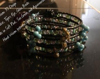 Bracelet Leather Boho leather Three Wrap Glass Bead Crystal