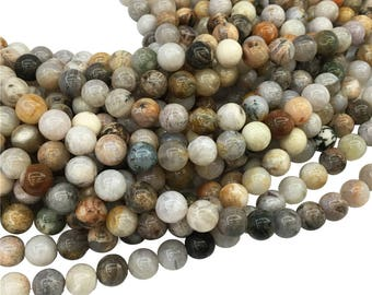 Bamboo Leaf Agate  Round Beads, 6mm 8mm 10mm Gemstone Beads Approx 15.5 Inch Strand