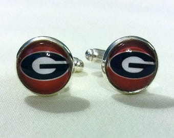 Georgia Cuff Links Georgia Bulldogs Game Day Cufflinks High Quality Bulldog Team Gifts for Men UGA gift