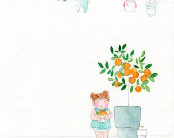 Orange You Cute - Giclée Watercolor Print for Children's Bedroom Decor