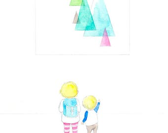 Museum Goers - Giclée Watercolor Print for Children's Bedroom Decor