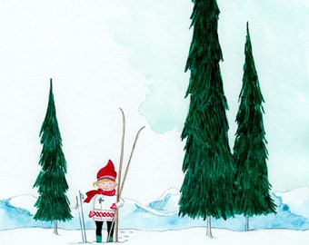 Little Skier - Giclée Watercolor Print for Children's Bedroom Decor